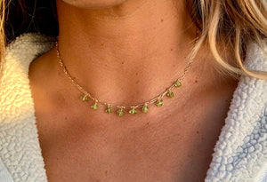 Load image into Gallery viewer, Peridot Dangle Short Necklace - 9 Stone