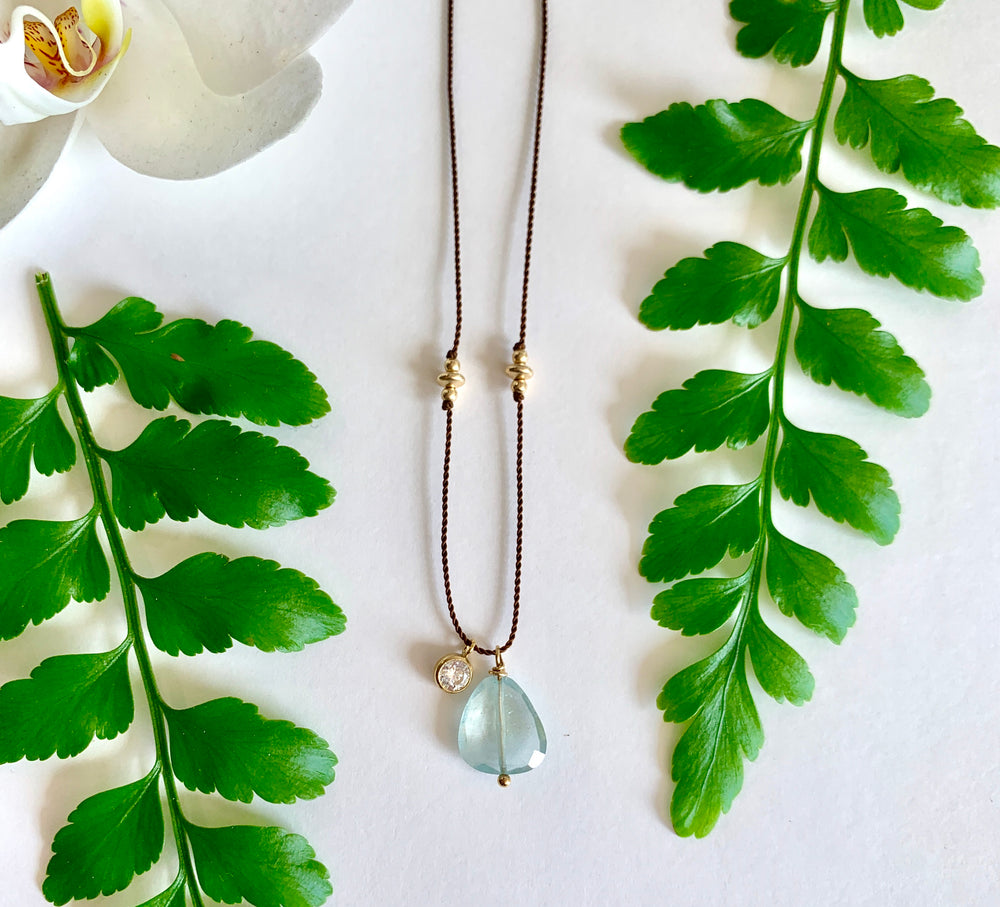 Aquamarine Simple Short Necklace - Beryl Collection