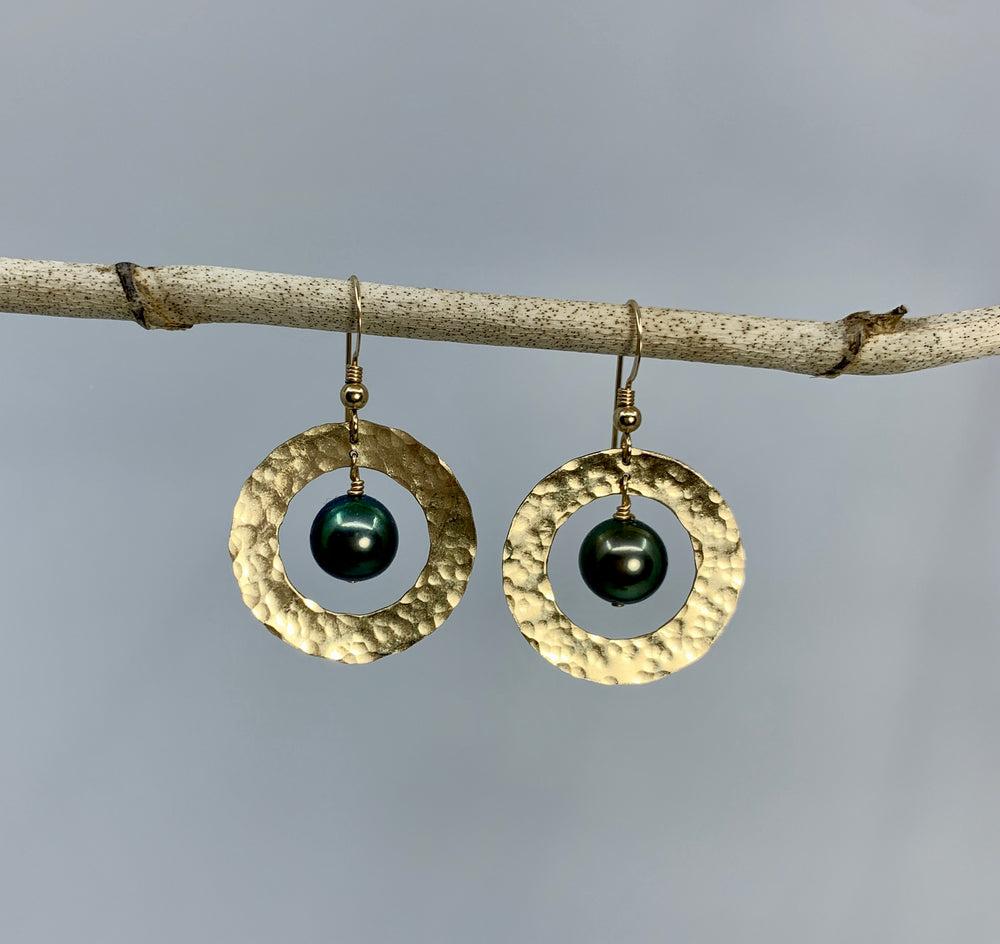 Load image into Gallery viewer, Saturn Earrings - Tahitian Pearl & Gold