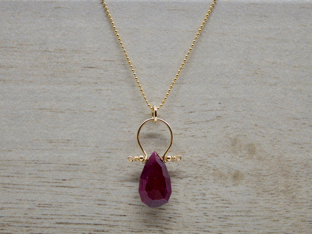 Load image into Gallery viewer, Ruby Teardrop Necklace