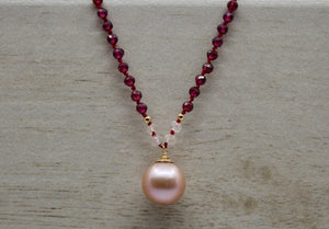 Garnet + Rose Quartz + Pink Edison Pearl Hand-knotted Necklace