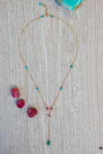 Turquoise + Ruby Lariat