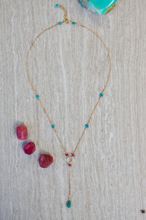 Load image into Gallery viewer, Turquoise + Ruby Lariat