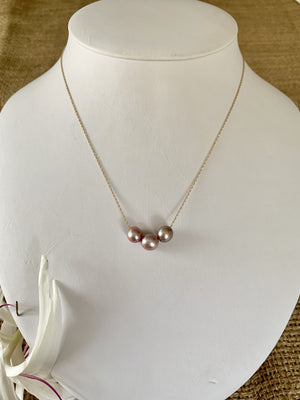 "Load image into Gallery viewer, Simple Floating Pearl Necklace - Triple Mini Pink Edison 16"" - Water Element Creations"