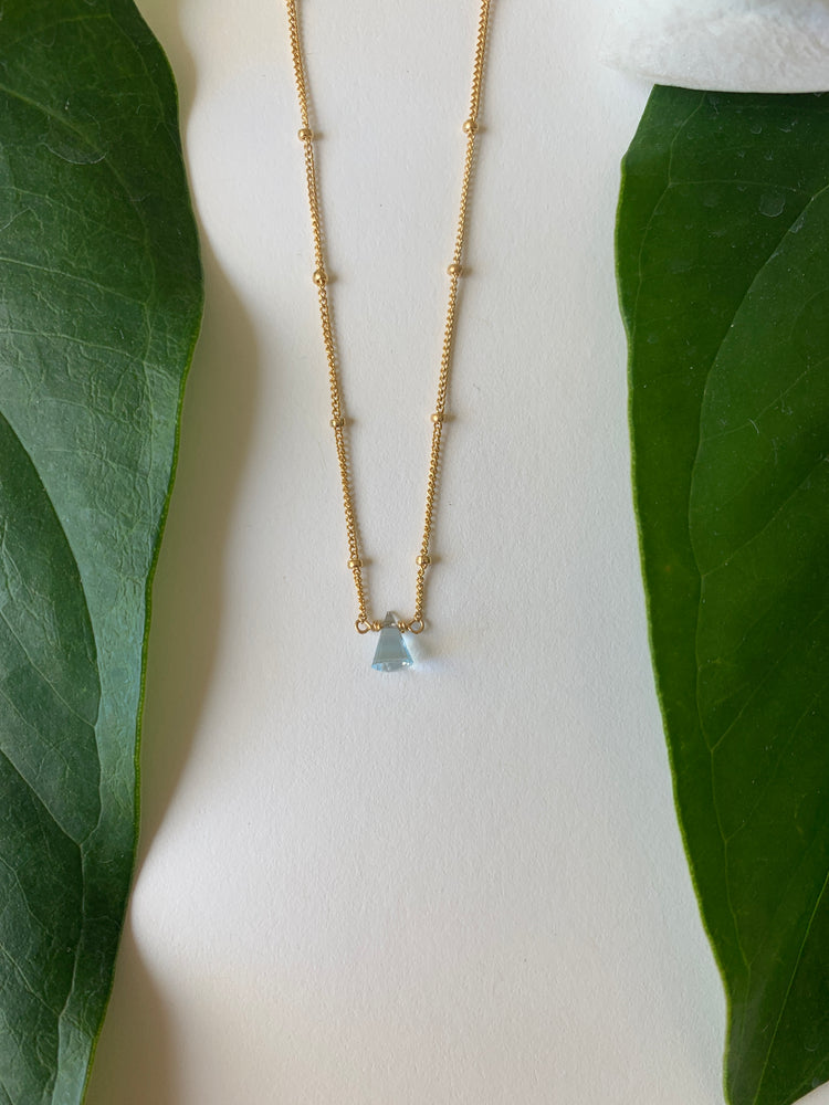 Topaz Short Necklace - single stone cone
