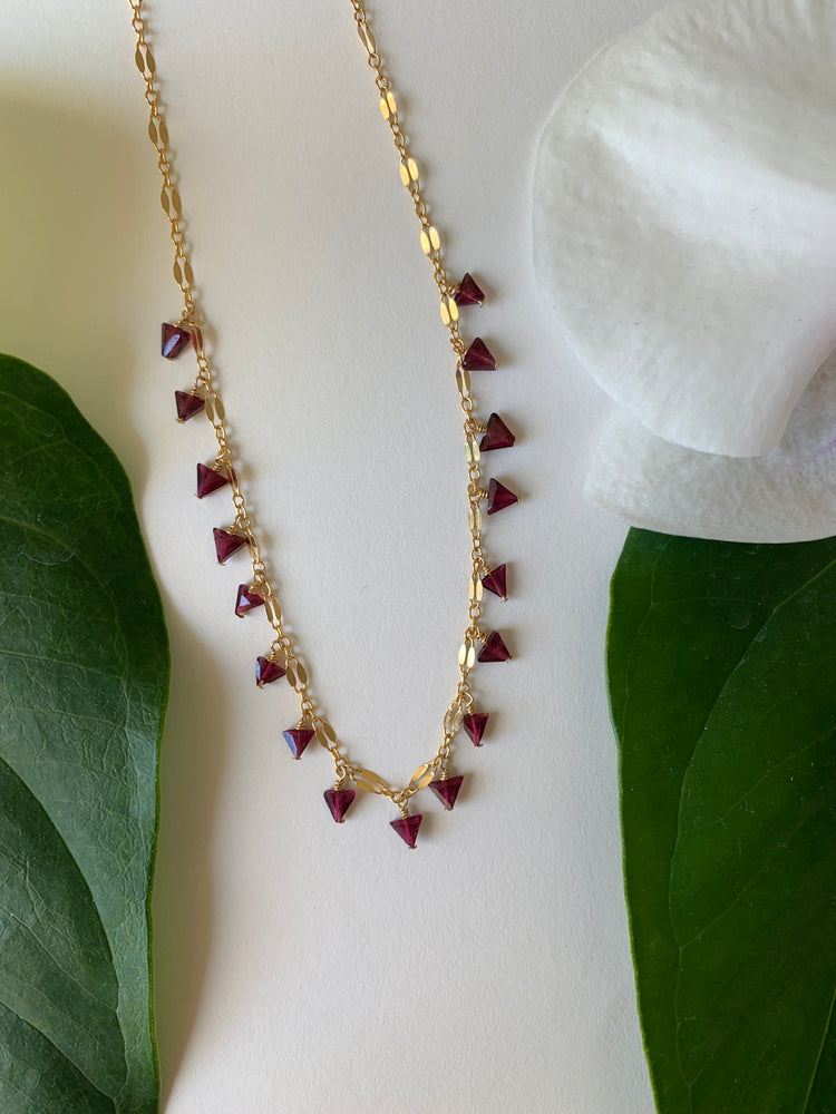 Garnet Dangle Short Necklace - 16 stone