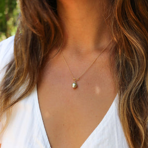 Tahitian Keshi Pearl + Citrine Necklace - Water Element Creations