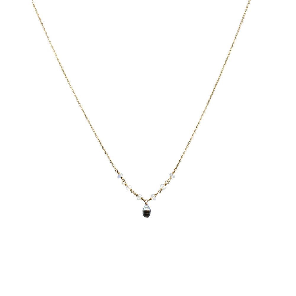 Tahitian Keshi Pearl + Moonstone Necklace