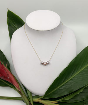 Simple Floating Pearl Necklace - Triple Mini Pink Edison 16""