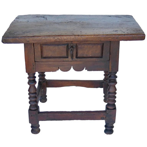 17th Century Spanish Side Table Walnut - Antique Inventory Tagged