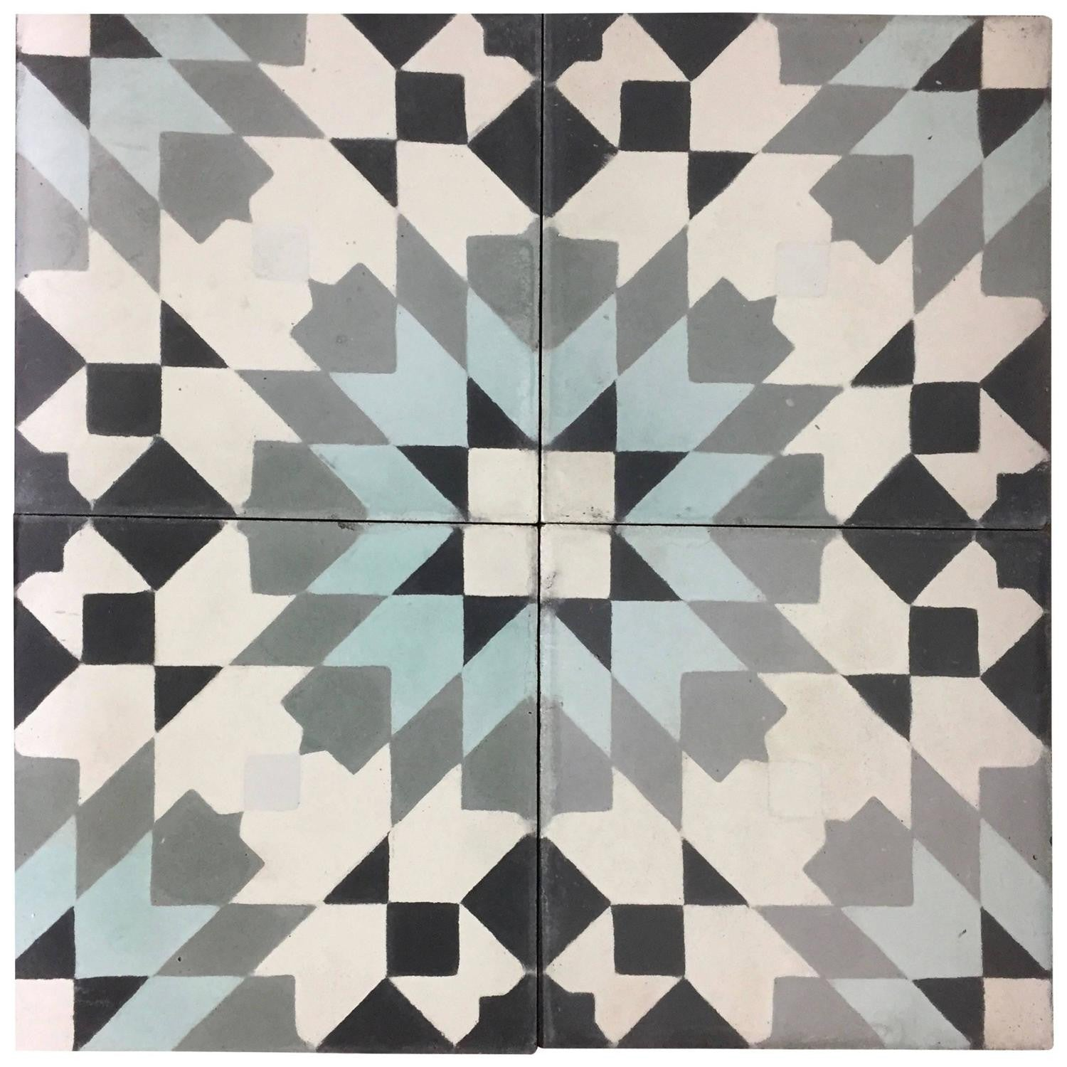 Geo Cement Tiles Black White Grey Blue - Haskell Antiques
