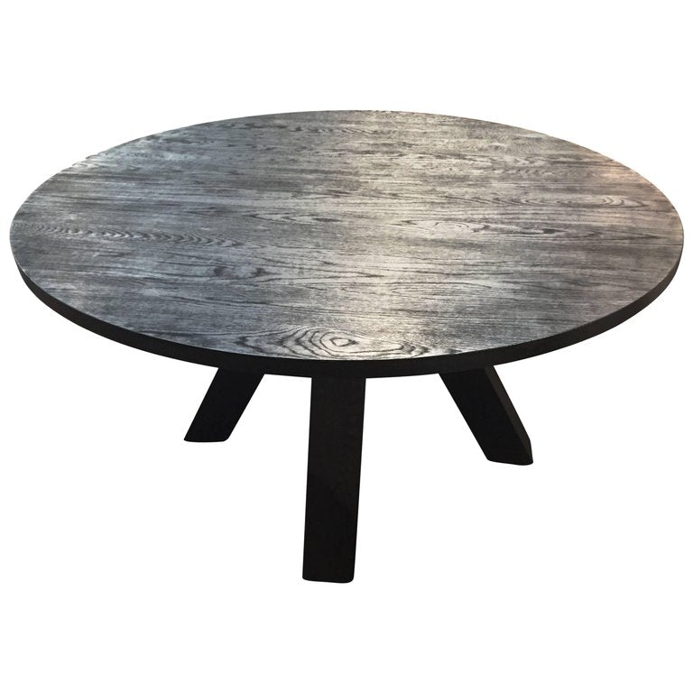 Feliz Round Dining Table In Blackened Oak