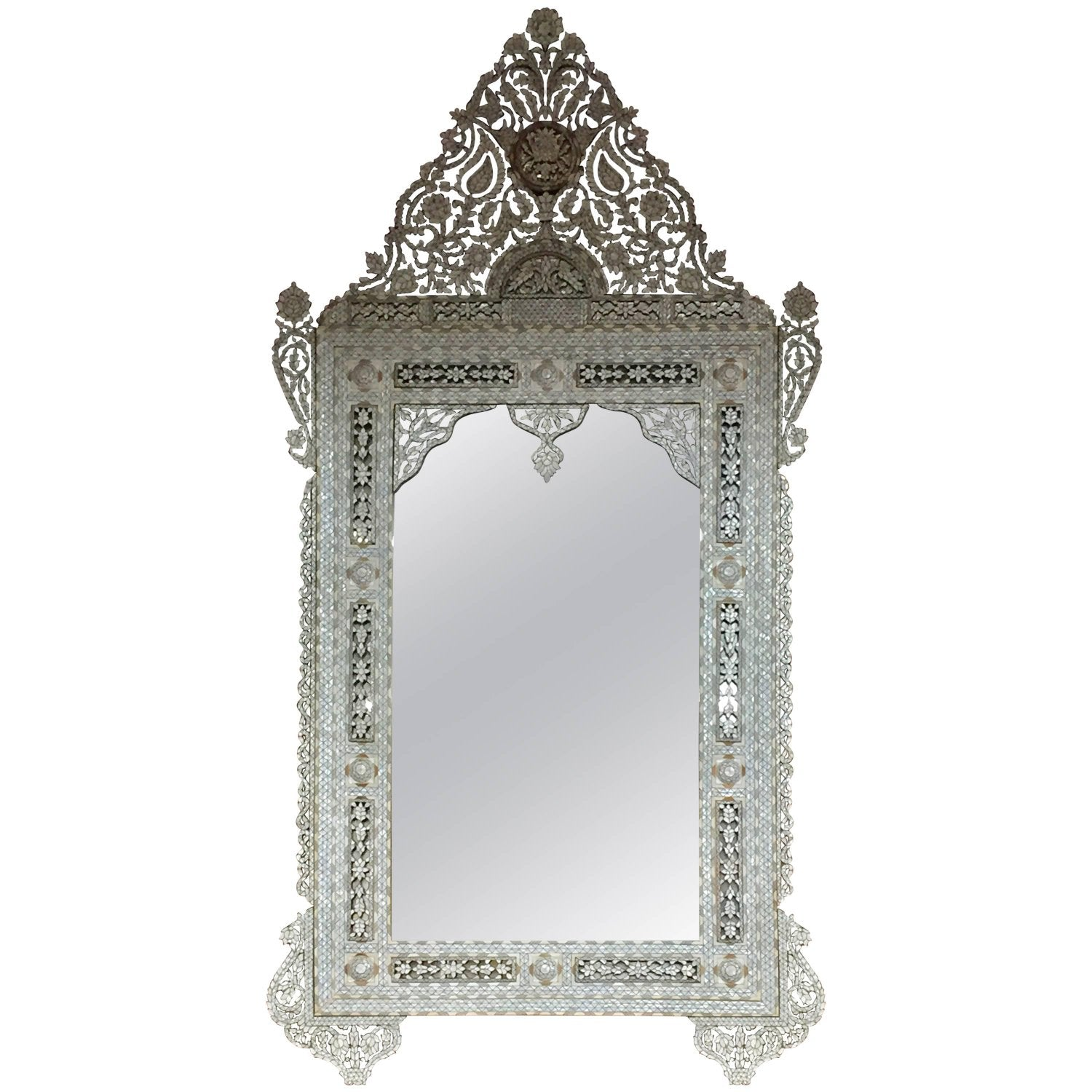 Massive syrian inlay mother of pearl mirror