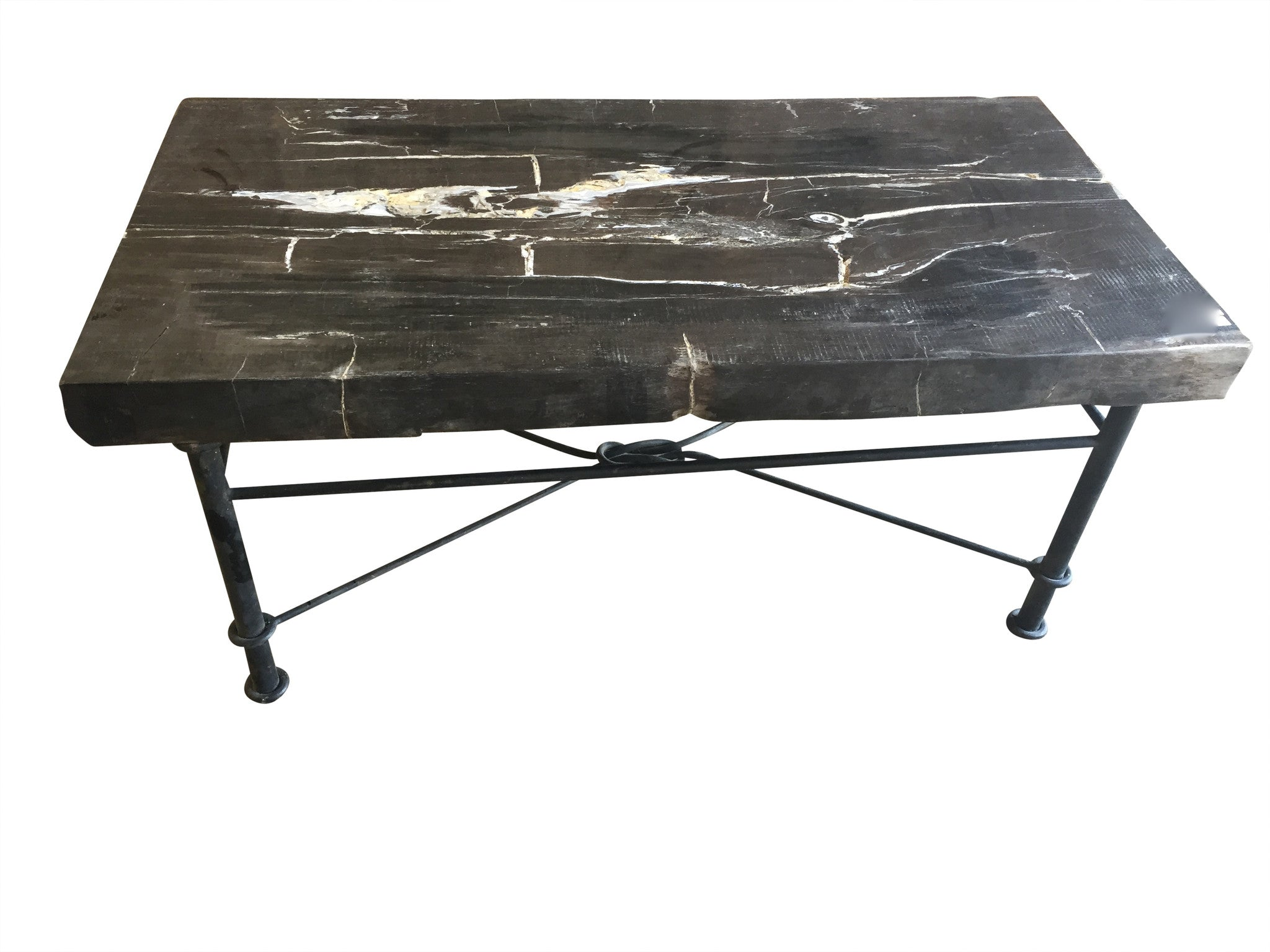- Petrified Wood Coffee Table With Iron Base - Haskell Antiques