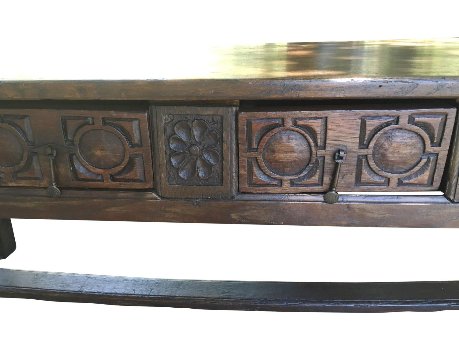 Spanish Chestnut Baroque Console Table