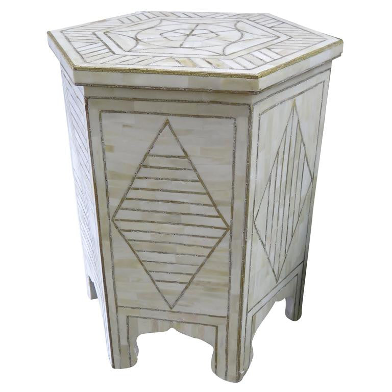 Good Bone Side Table With Brass Design