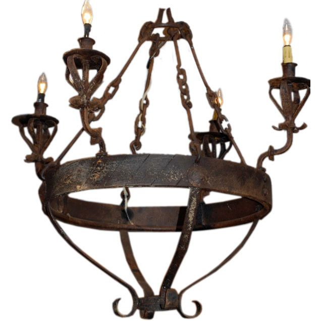 Haskell lighting iron haskell antiques spanish colonial style wrought iron chandelier mozeypictures Image collections