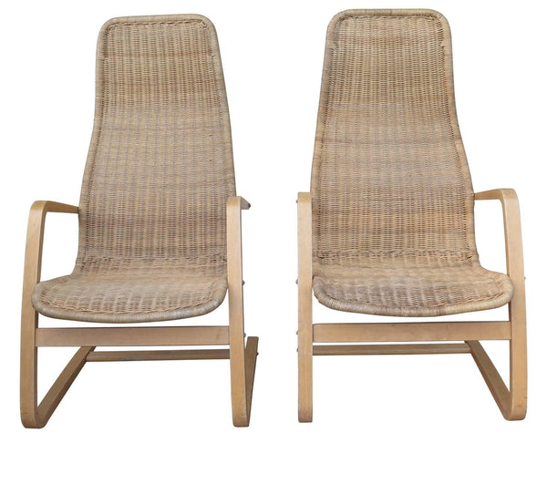 Great Pair of Mid-Century Modern Swedish Chairs Wicker Bentwood  sc 1 st  Haskell Antiques Montecito & Modern Finds - Haskell Antiques