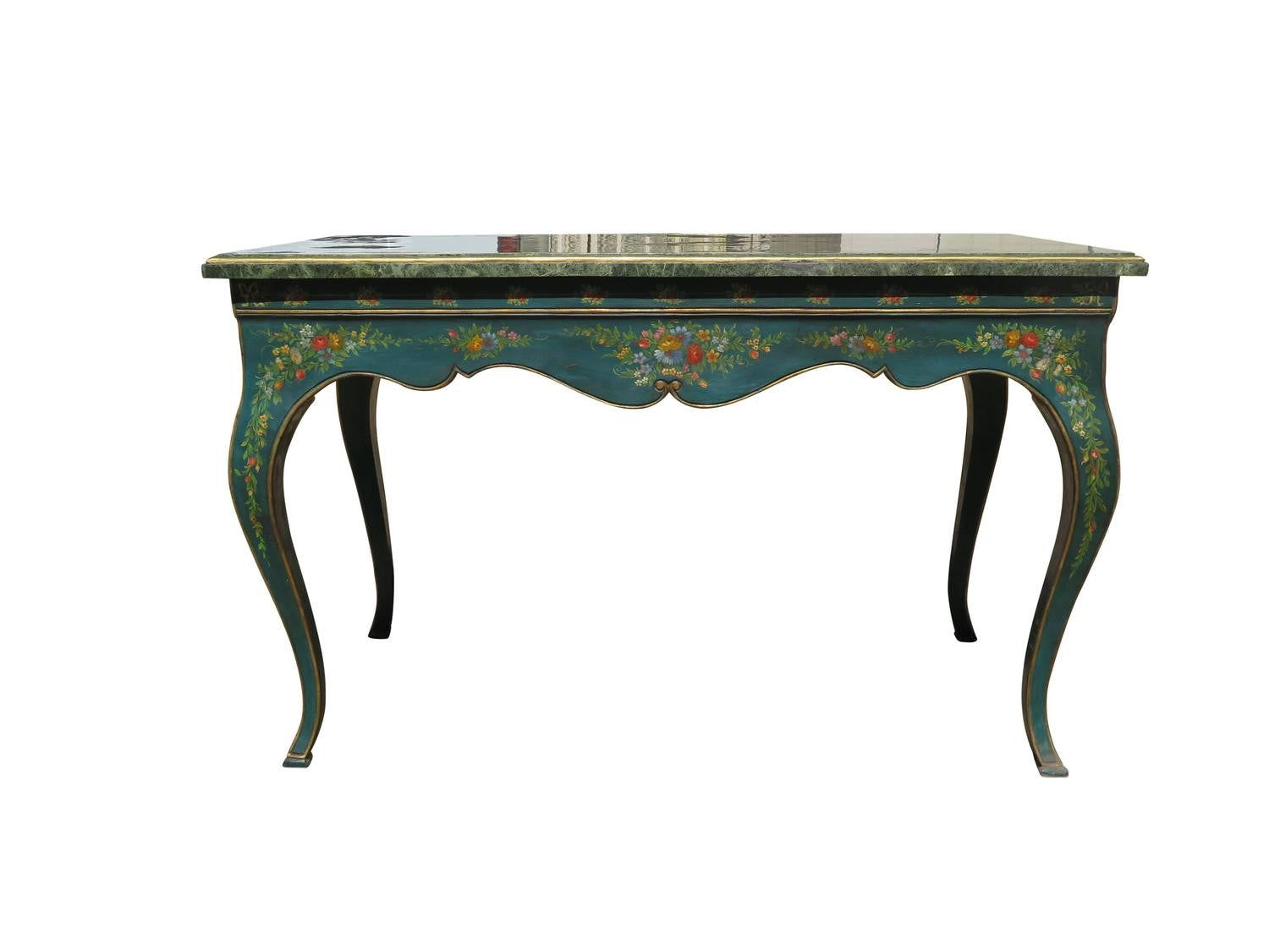 Blue Teal English Parlor Or Console Table With Marble Top   Haskell Antiques