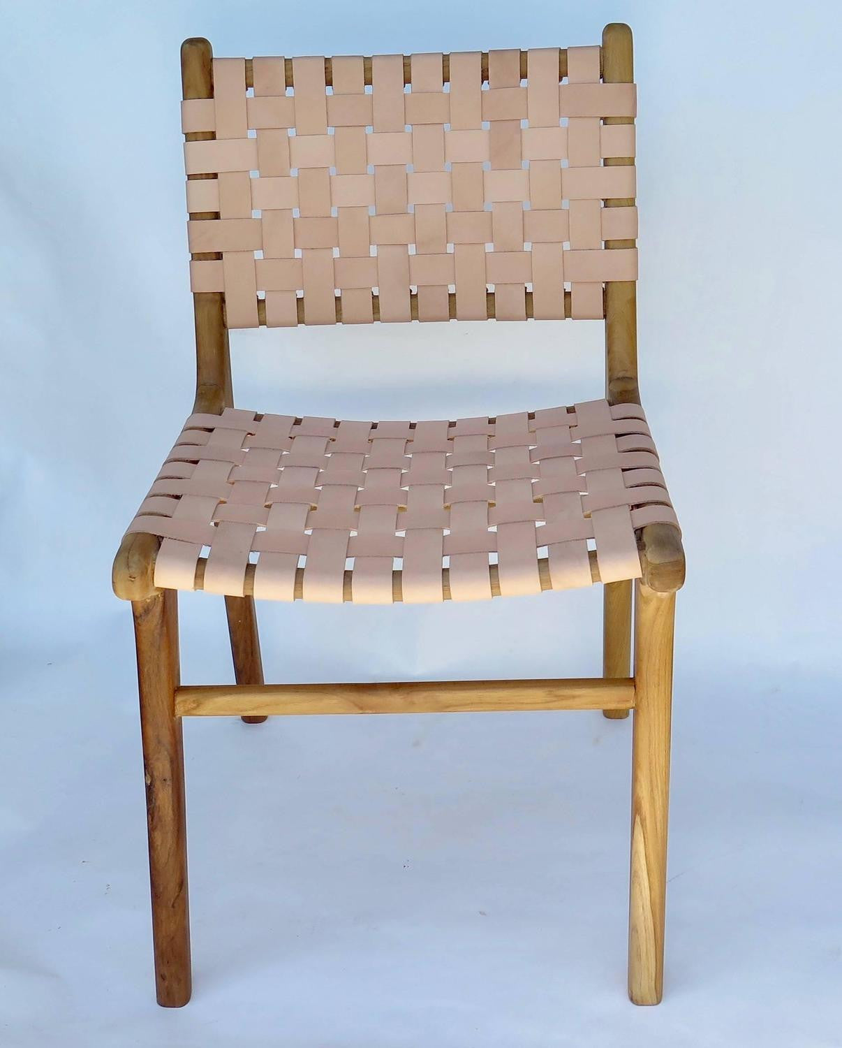 Set Of Six Flora Dining Chairs With Leather Strap