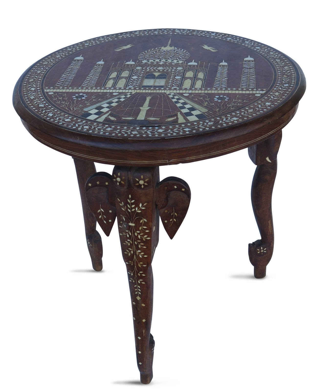 Superb 19th Century Anglo Indian Elephant Leg Side Table