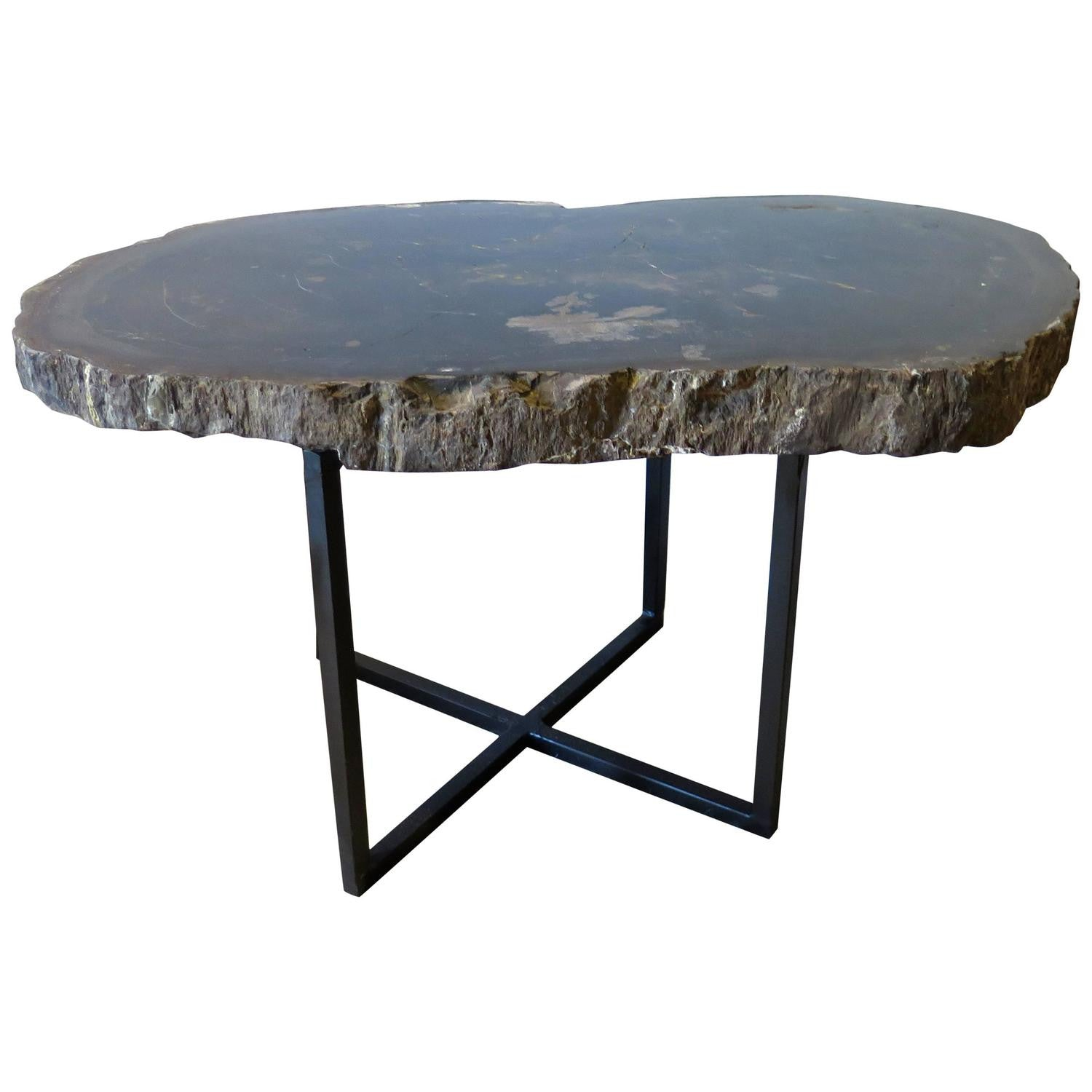 Black And Gray Petrified Wood Coffee Or Side Table Haskell Antiques