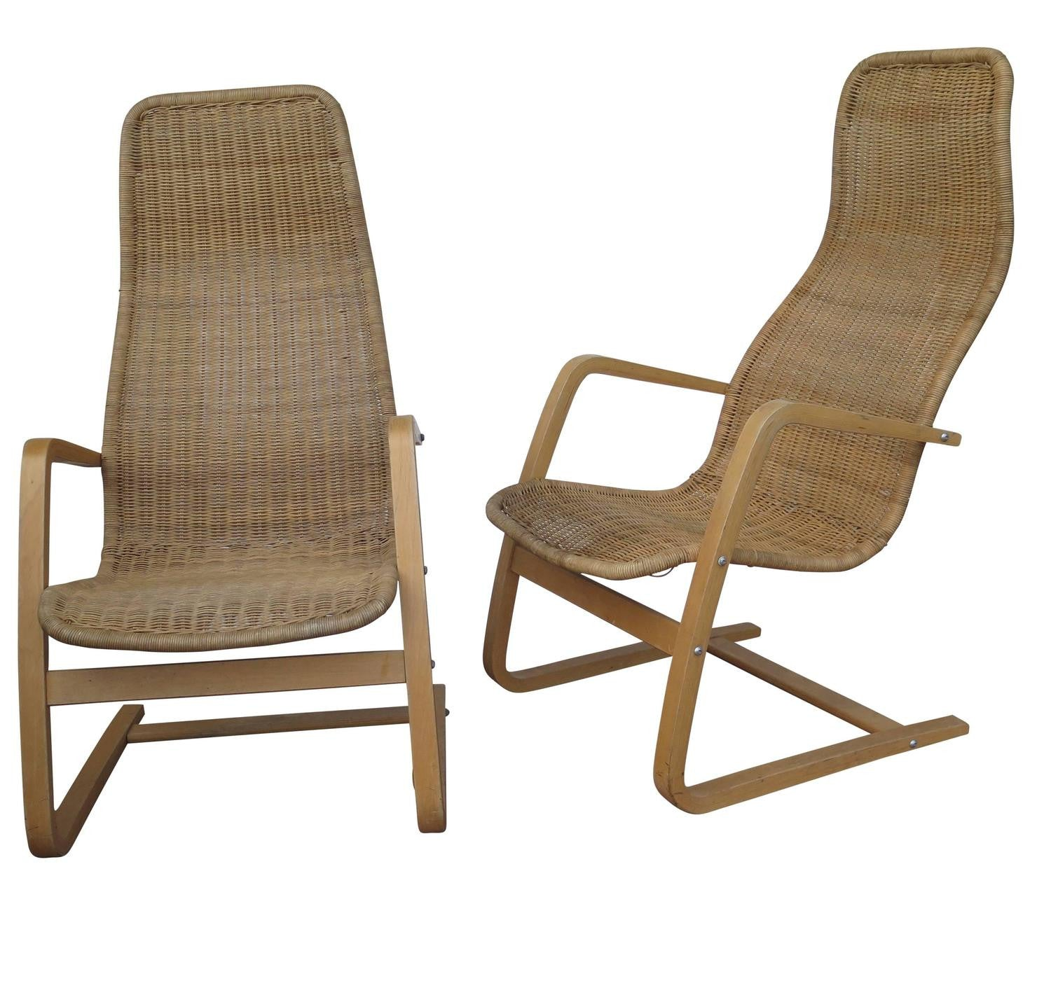 Superb Great Pair Of Mid Century Modern Swedish Chairs Wicker Bentwood