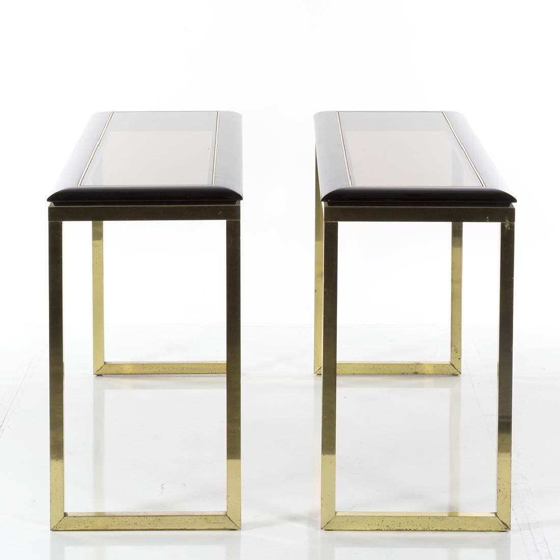 Tables page 2 haskell antiques pair of italian brass and oak console tables modern 1970s geotapseo Image collections