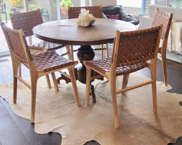 Flora Dining Chair With Natural Leather And Finish Haskell Design