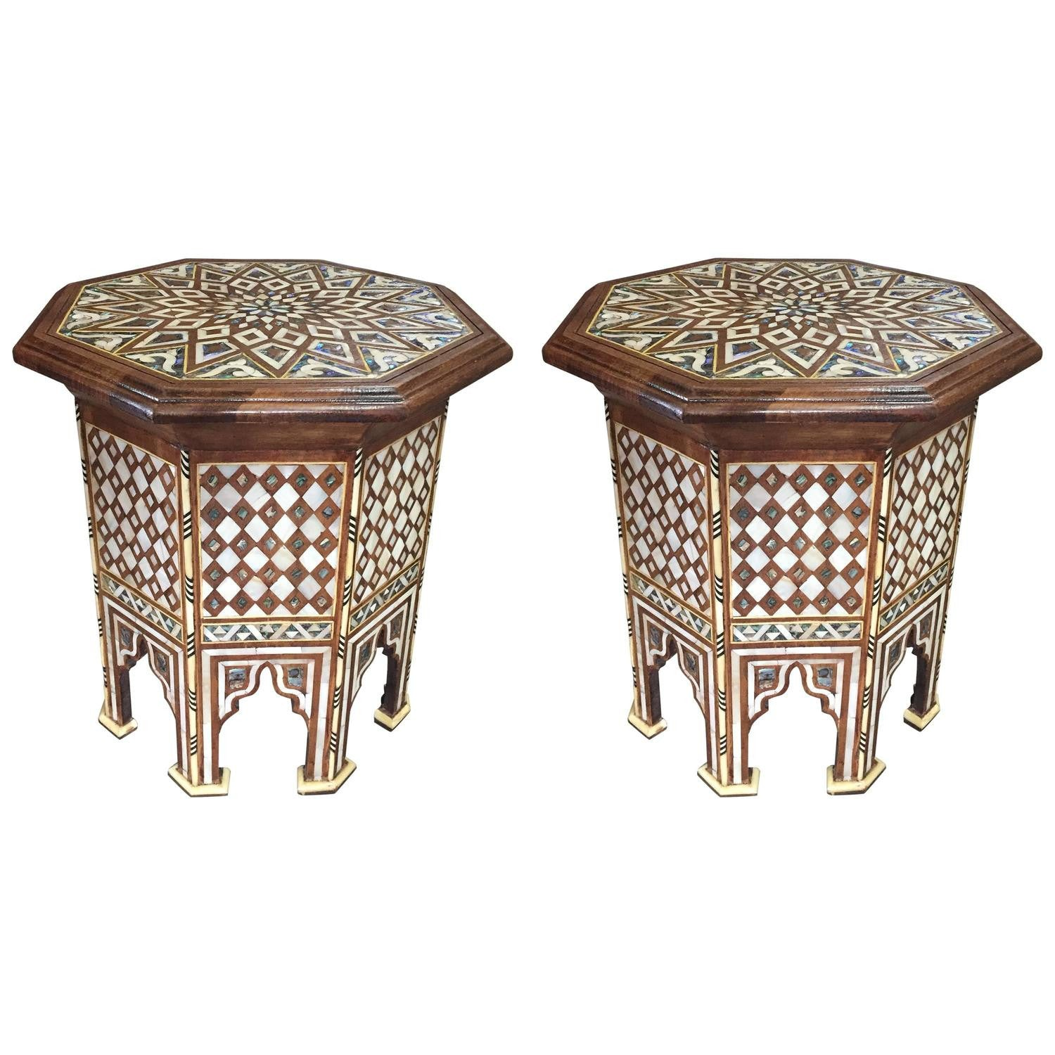 Pair Of Moroccan Abalone And Mother Of Pearl Side Tables