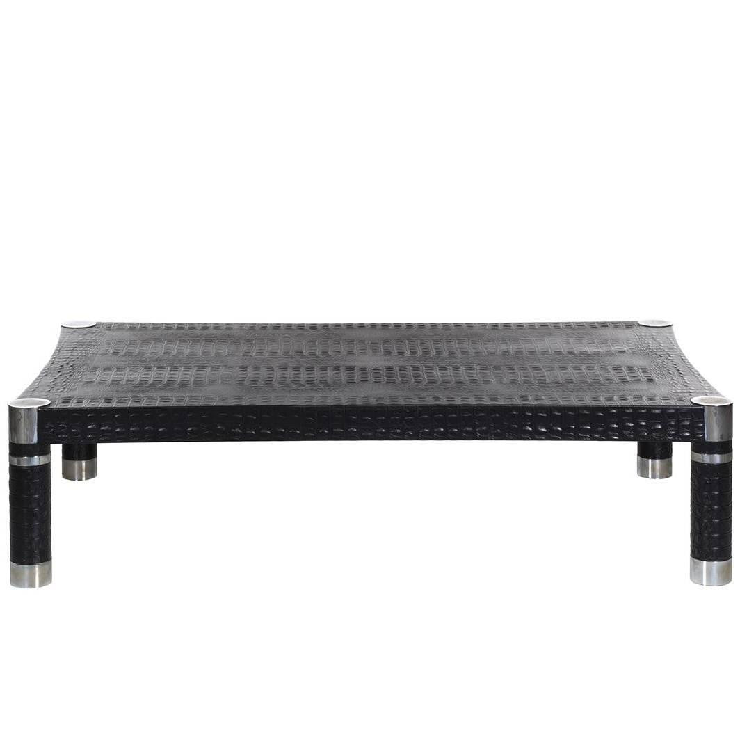 Karl Springer Embossed Crocodile Print Leather And Chrome Coffee Cocktail  Table