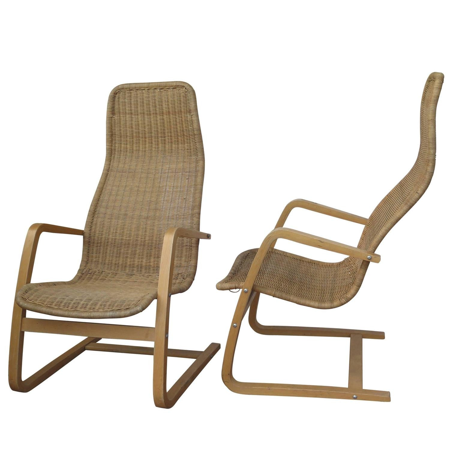 Great Pair Of Mid Century Modern Swedish Chairs Wicker Bentwood