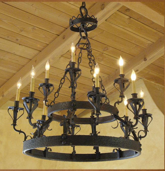 C01 Santa Barbara Spanish Style Wrought Iron Chandelier Haskell – Rot Iron Chandeliers