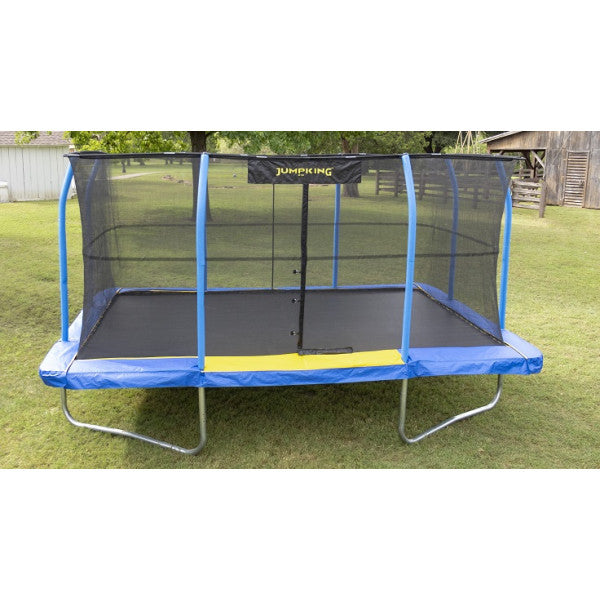 10' X 15' JumpKing Rectangular Blue/Yellow Pad Trampoline Combo - www.babylife4u.com