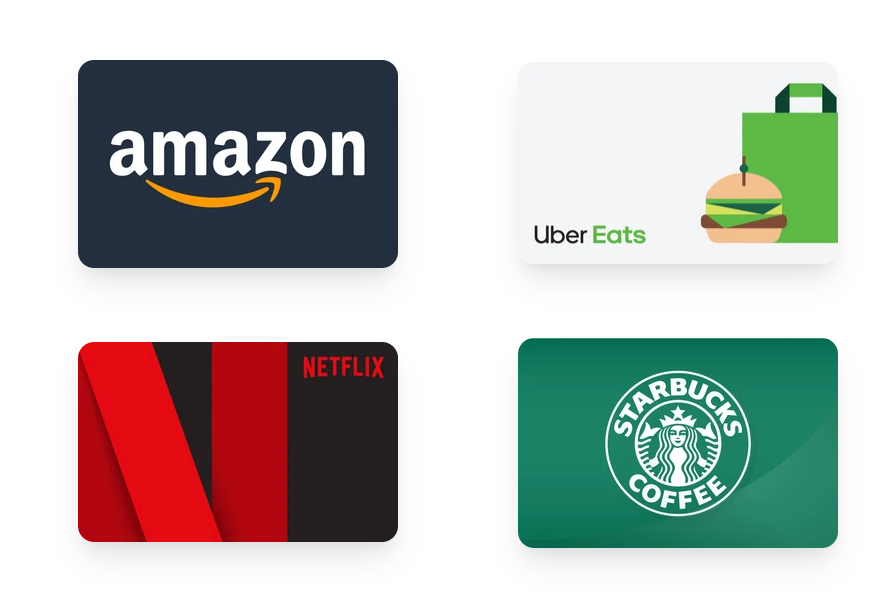 Amazon, Uber Eats, Netflex and Starbucks gift cards