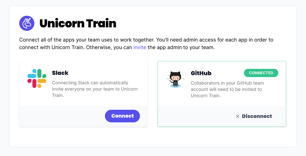 Connect your apps such as Slack and GitHub