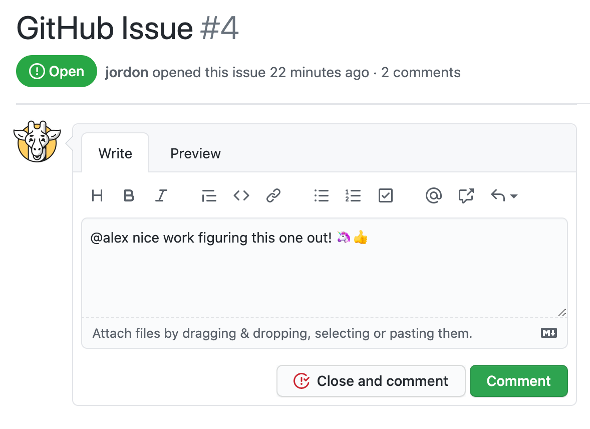 GitHub Issue Comment