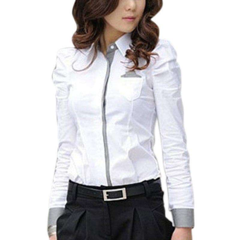 3f4851115c5d Women's White Long Sleeve Button Down Slim Fit Blouse – Love Fashion ...