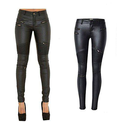 e4520256183d PU Leather Denim Pants for Women Sexy Tight Stretchy Rider Leggings Black  Coffee. Hover to zoom