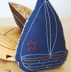Blue Sailboat Embroidered Pillow