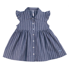 Ruffle Shoulder Pinstripe Baby Dress