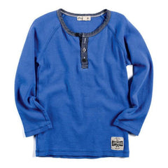 Blue Long Sleeve Henley Shirt