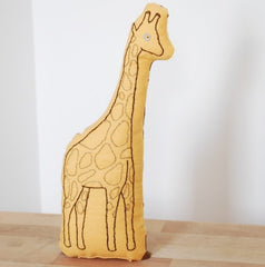 Yellow Giraffe Embroidered Pillow