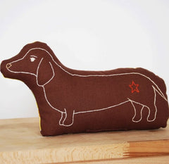 Brown Dachshund Embroidered Pillow