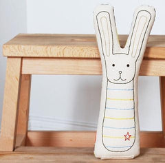 Ivory Bunny Embroidered Pillow