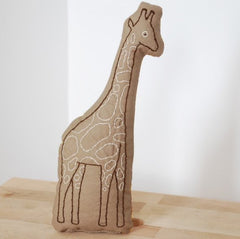 Sage Giraffe Embroidered Pillow