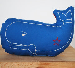 Blue Whale Embroidered Pillow