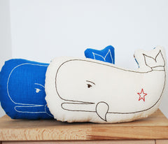 Ivory Whale Embroidered Pillow