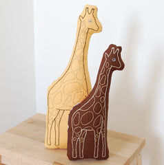 Brown Giraffe Embroidered Pillow