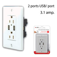 White Dual Electric Plug with 2 USB Port